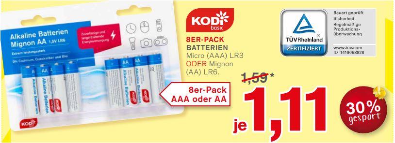 8er-Pack Alkaline Batterien Micro (AAA) LR3 oder Mignon (AA) LR6 für 1,11 Euro [KODI]