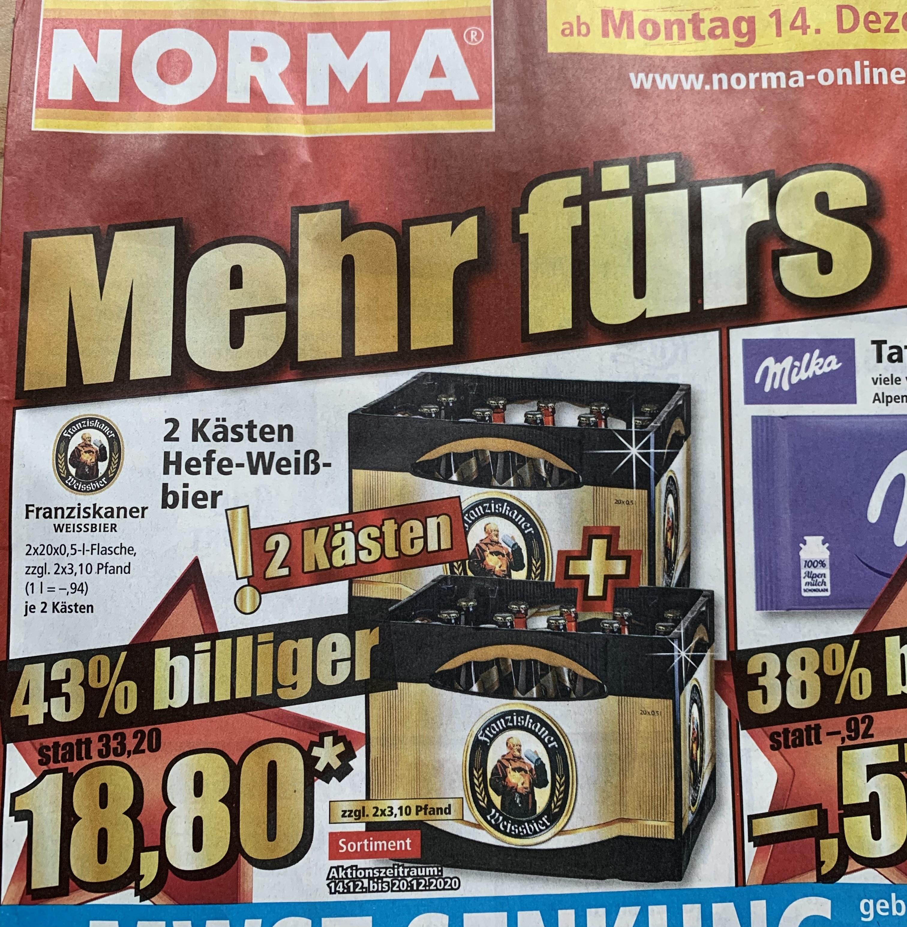 [Norma] Franziskaner Hefe-Weißbier 2 Kästen nur 18,80€