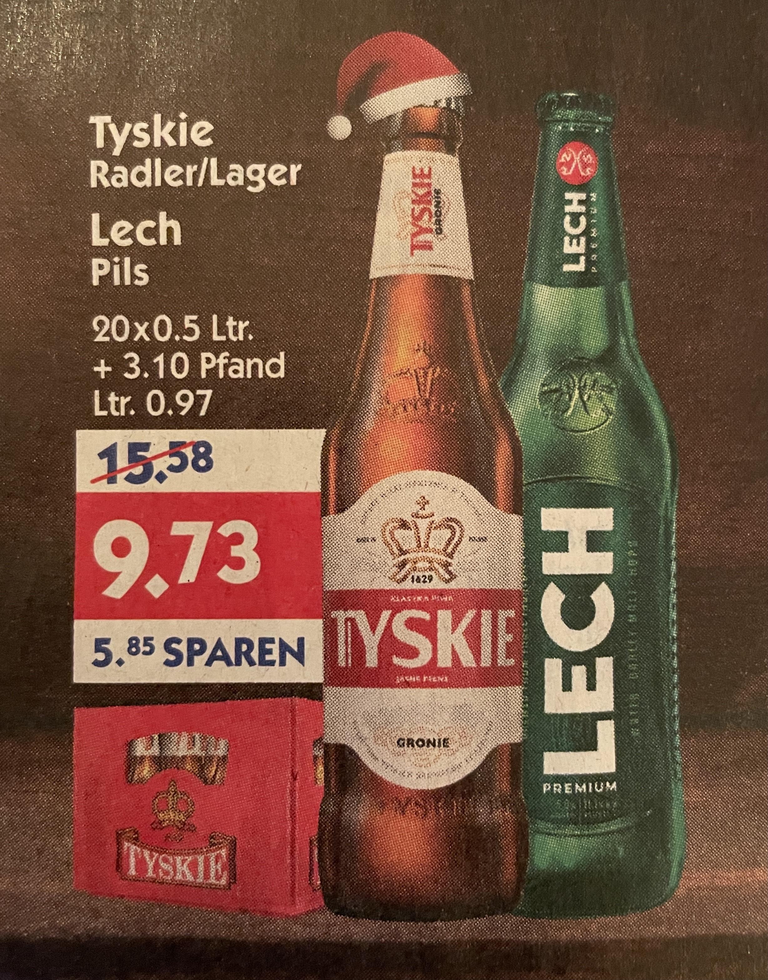 [Hol' Ab] Kiste Tyskie Lager oder Radler - Kiste Lech Pils 20x0.5l für 9.73€ zzgl. 3.10€