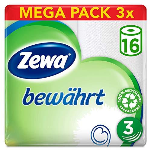 Zewa Toilettenpapier trocken bewährt, weiß, 3-lagig 48 Rollen, 3 x 16 Stück à 150 Blatt, mit 5er Sparabo sogar nur 9,47€ - Prime*Sparabo*