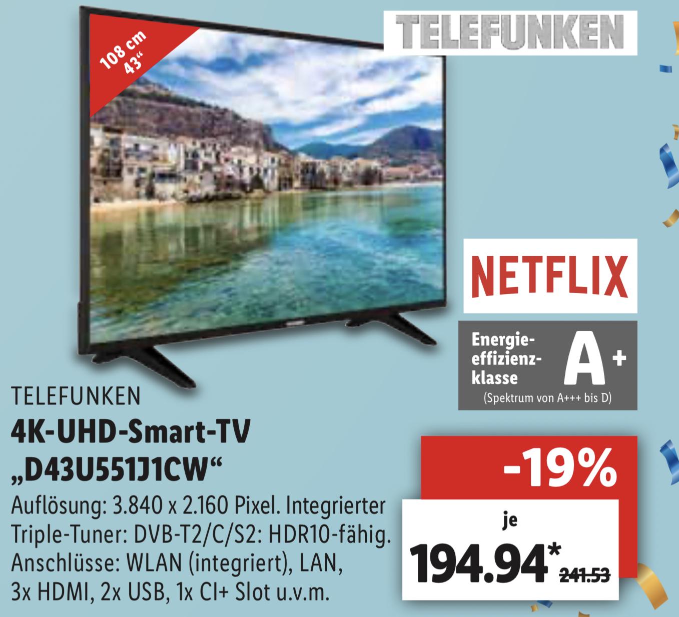 Lokal Lidl: Telefunken 43 Zoll 108cm 4K UHD Smart TV Triple Tuner Alexa kompatibel für 189,94€ - Weiden u. Kremmen