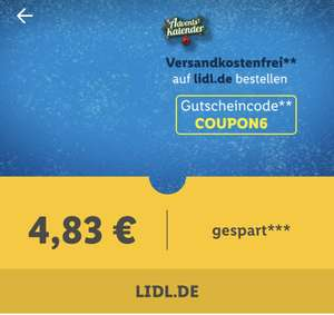 Versandkostenfrei bestellen auf Lidl.de (MBW 59€)