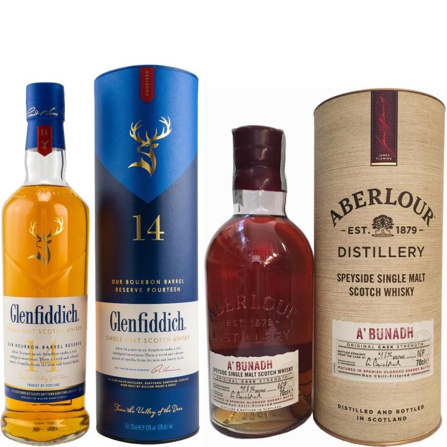 Whisky-Übersicht #60: z.B. Glenfiddich 14 Jahre Bourbon Barrel Reserve für 41,45€, Aberlour A'Bunadh Batch No. 67 für 54,39€ inkl. Versand