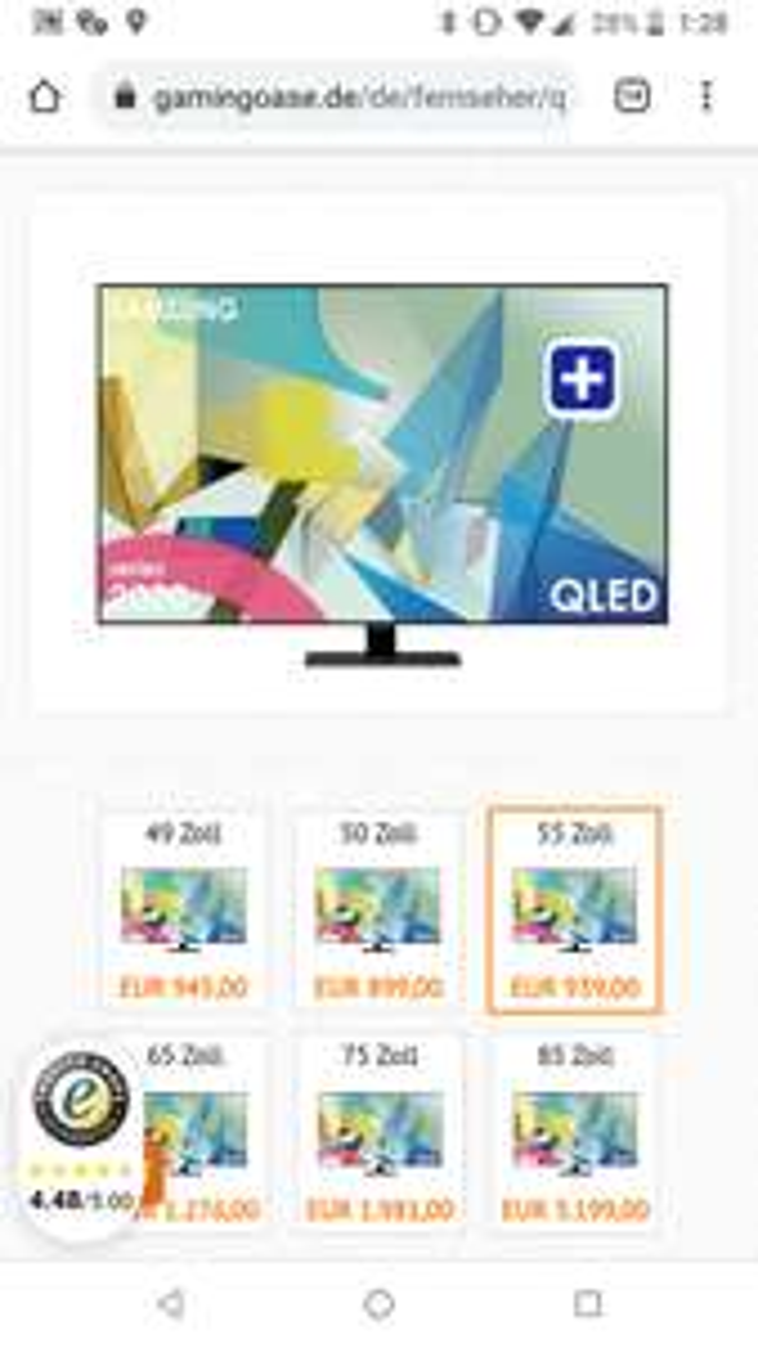 Samsung QLED Q55Q80T 55 Zoll 4K UHD Smart TV Modell 2020