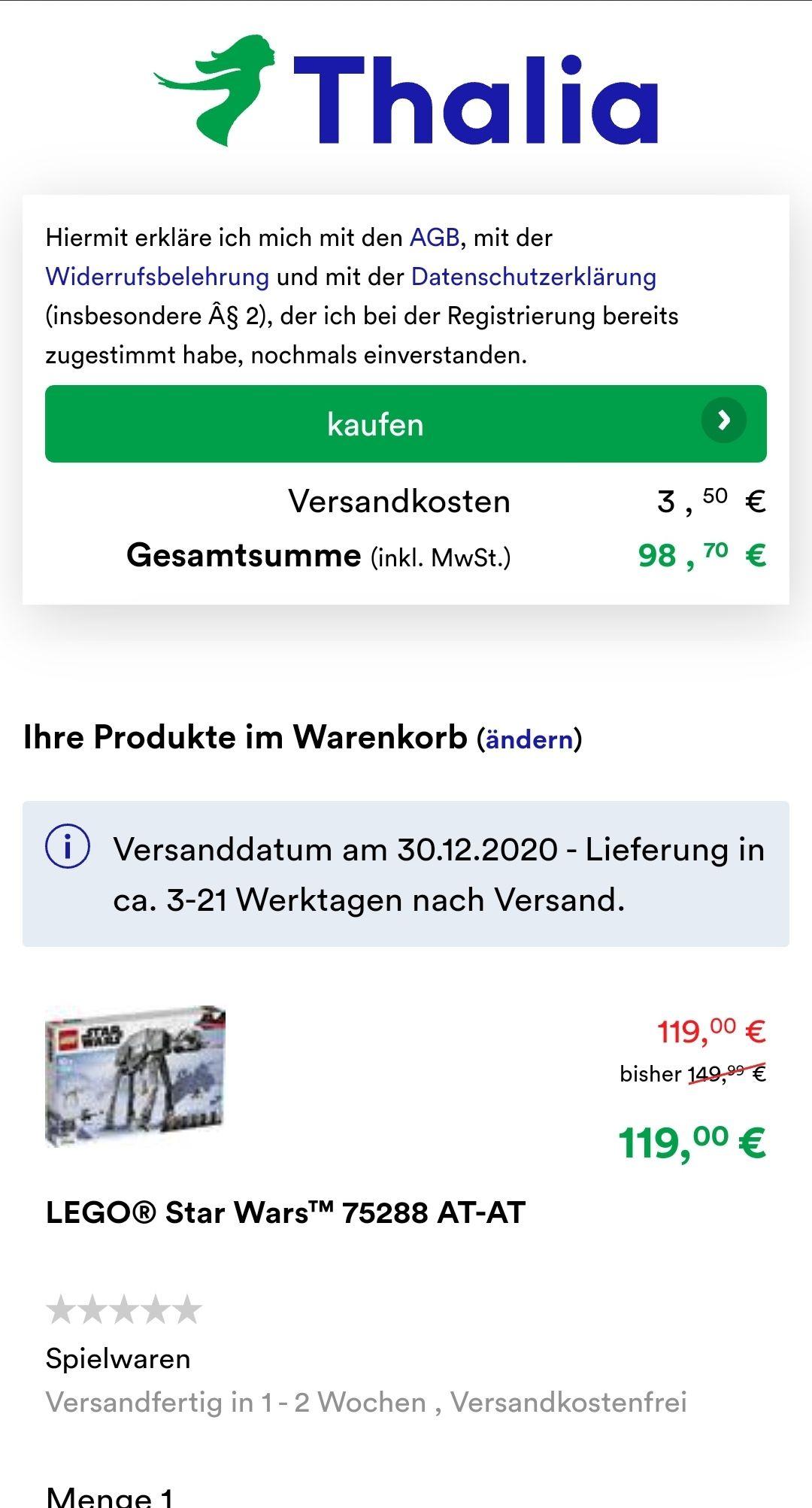 Lego Star Wars AT-AT 75288 Thalia.at 98,70€ inkl. Versand