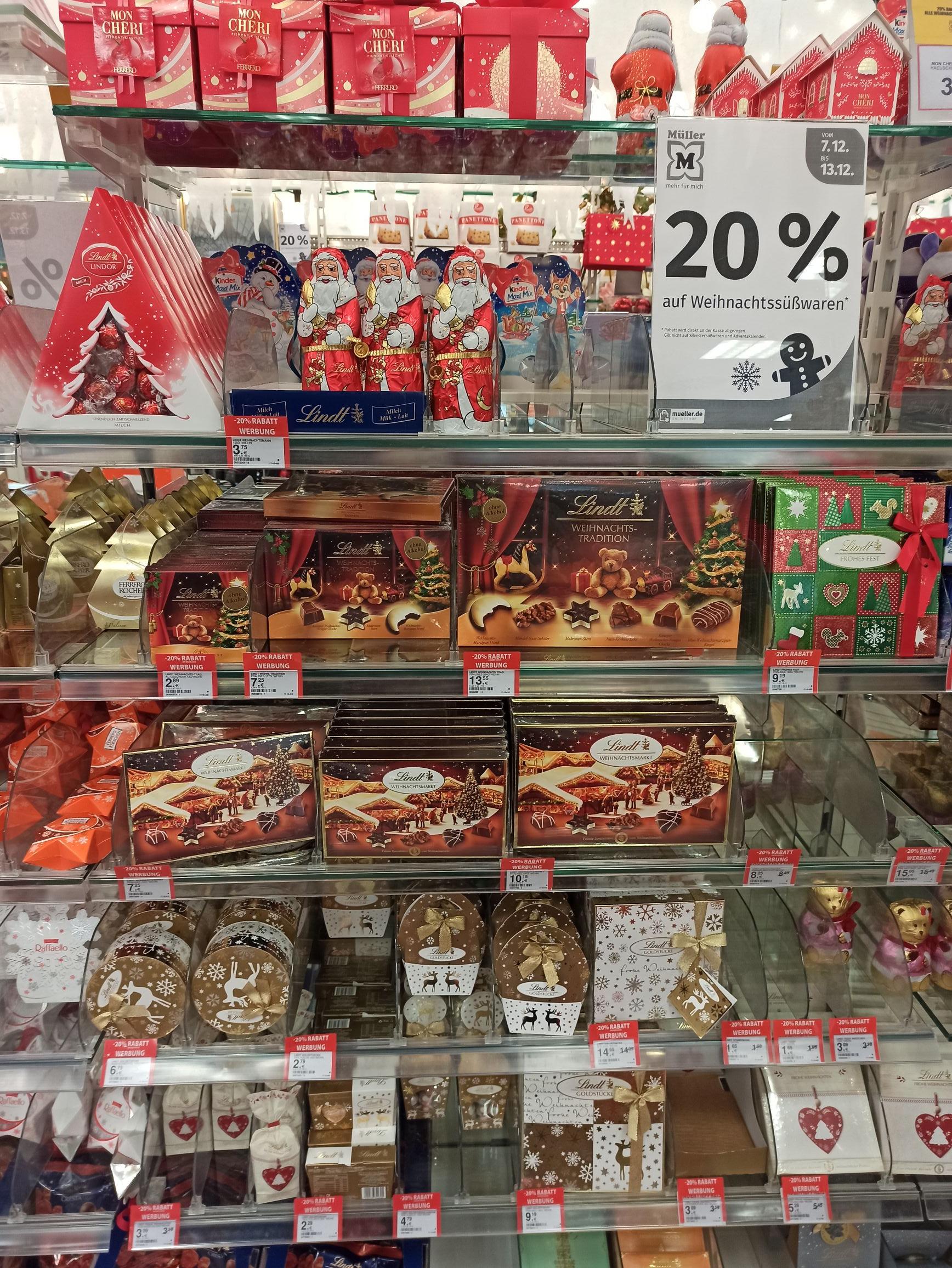 -20% auf Weihnachtssüßwaren bei Müller