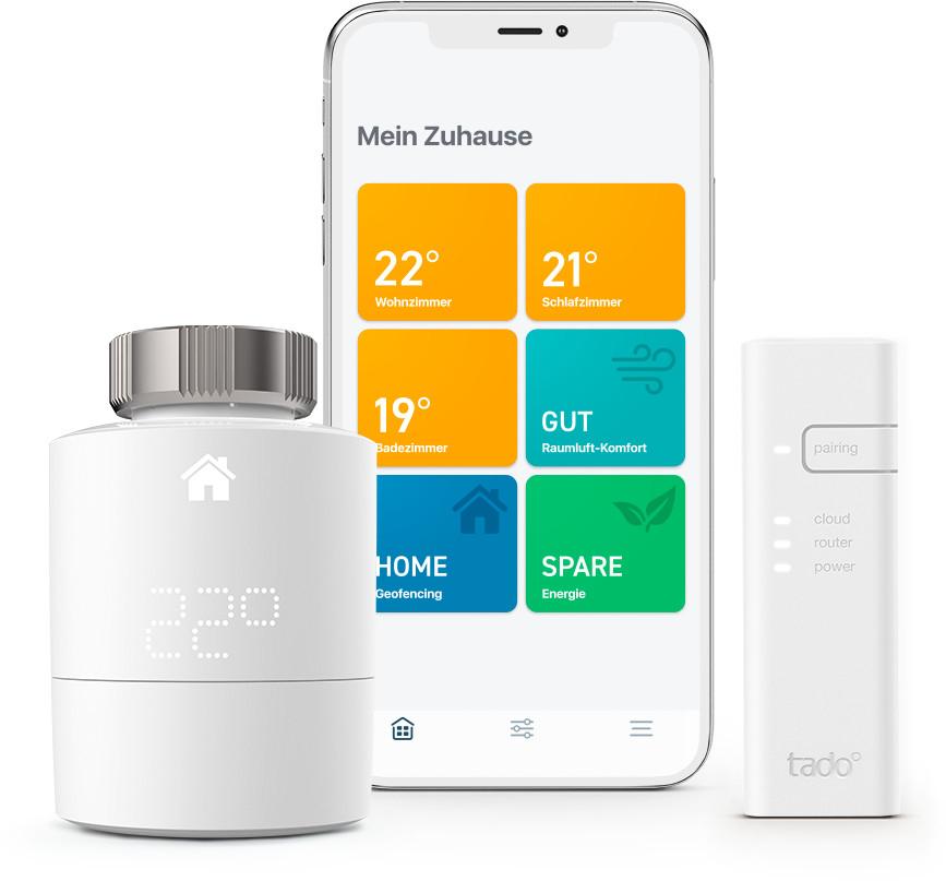 Refurbished-Angebote bei tado°: z.B. Smartes Heizkörper-Thermostat Starter Kit V3+ - 70€ | Thermostat (verkabelt) Starter Kit V3+ - 100€