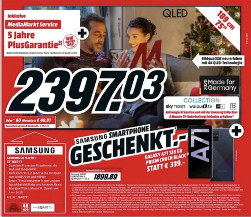 Samsung GQ75Q90T mit 5 Jahren Garantie + Samsung Galaxy A71 + SkyCashback für eff. ca 1550€