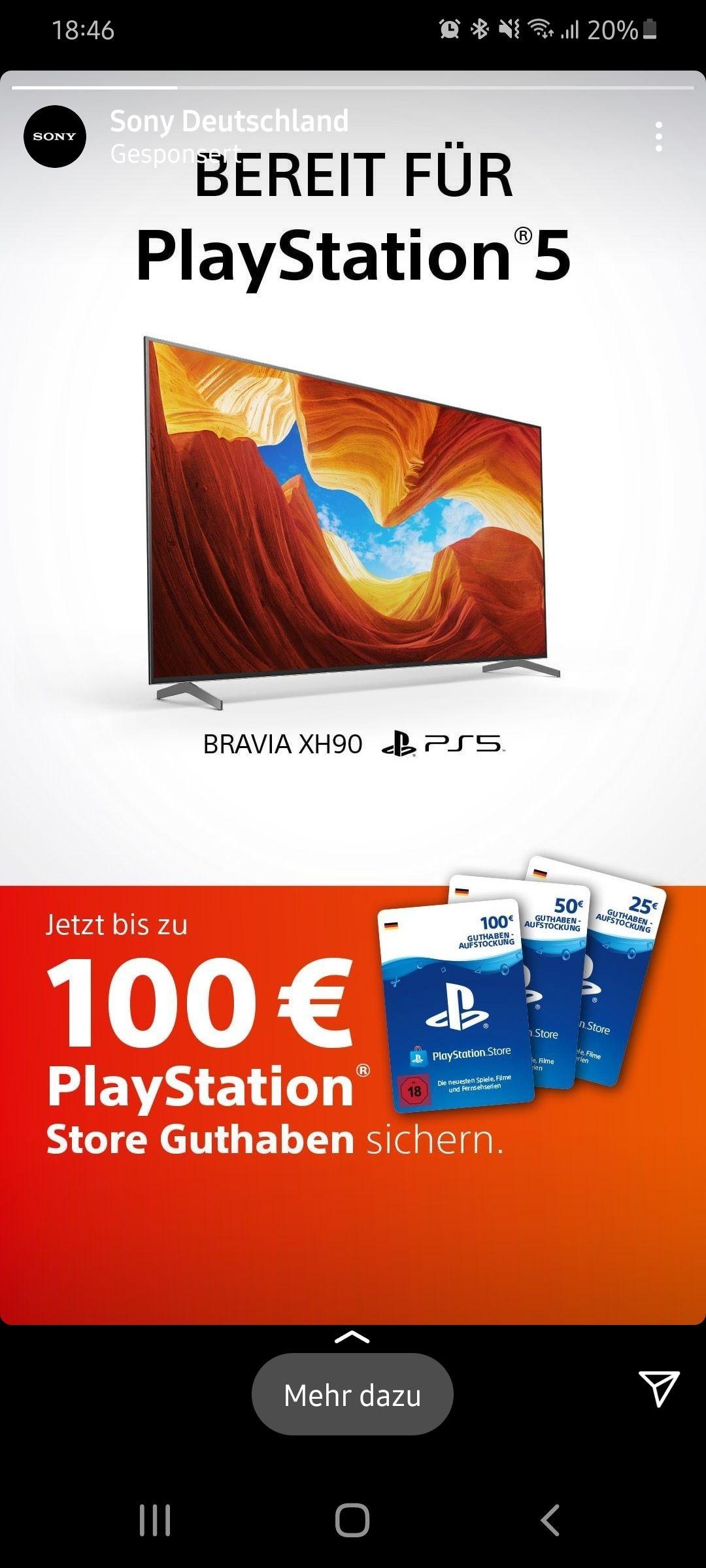 100€/50€ oder 25€ Sony PSN Guthaben für Bravia Aktionsmodele