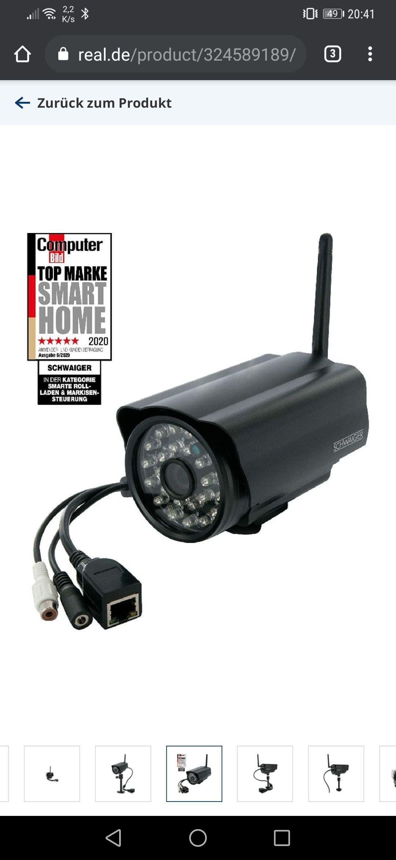 [Real] SCHWAIGER ZHK17 wetterfeste Überwachungskamera, Infrarot, 720p