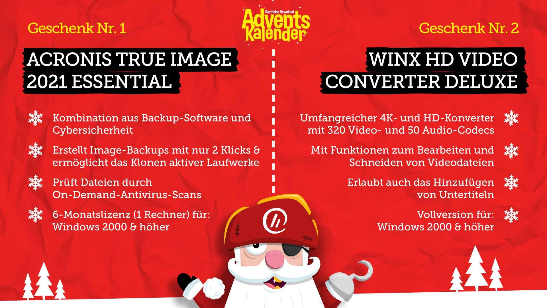 heise: Adventskalender: Türchen 8: Acronis True Image 2021 Essential & WinX HD Video Converter Deluxe