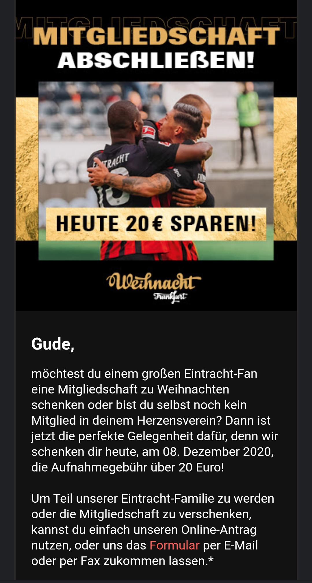 Eintracht Frankfurt Mitgliedschaft nur heute (08.12.2020) ohne Anmeldegebühr