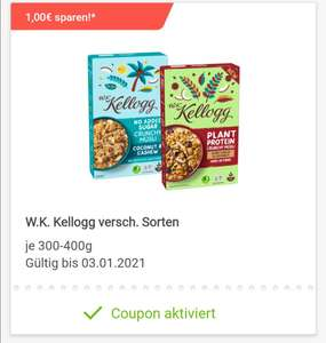 Rewe/Payback: 2,50€ Rabatt auf W.K. Kellogg Müslis