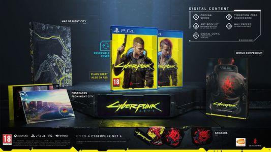 Cyberpunk 2077 ((PS4 XBOXONE) PC für 45,77€) + Karte von NightCity, Aufkleber, Postkarten, Welt Kompendium & digitale Bonusinhalte