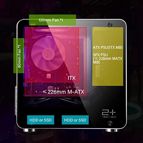 Golden Field M3S Mini ITX/MATX (Aluminium mit Fenster) Maße : 330x330x172 mm