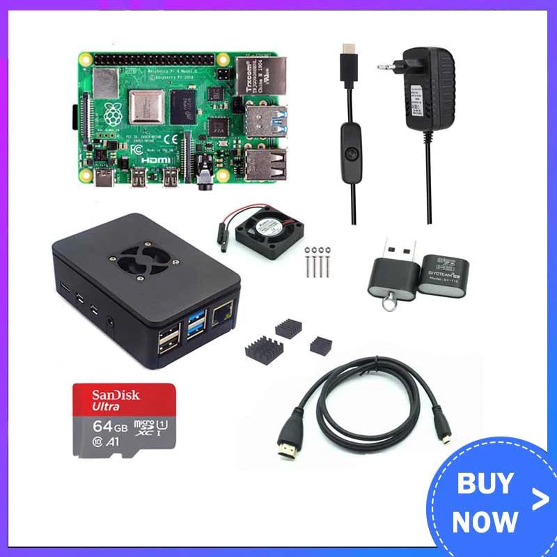Raspberry Pi 4 Modell B, Set mit 64gb SD Karte, Gehäuse, Lüfter und HDMI Kabel