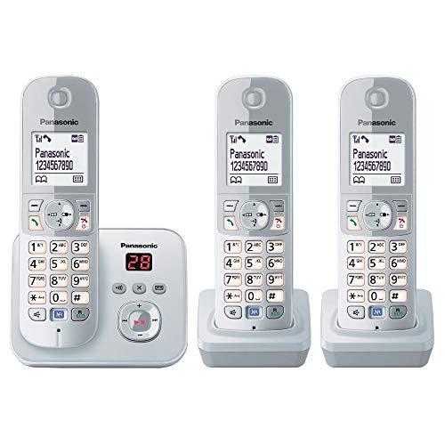 [Amazon] Panasonic KX-TG6823GS DECT Schnurlostelefon mit Anrufbeantworter (3 Mobilteile, strahlungsarm, Eco-Modus, GAP Telefon, Festnetz)