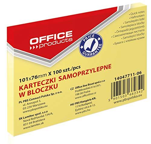 OFFICE PRODUCTS 14047611-06 Haftnotiz 101 x 76 mm, 1 X 100 Blatt, Pastellfarbe/kanariengelb (Prime)