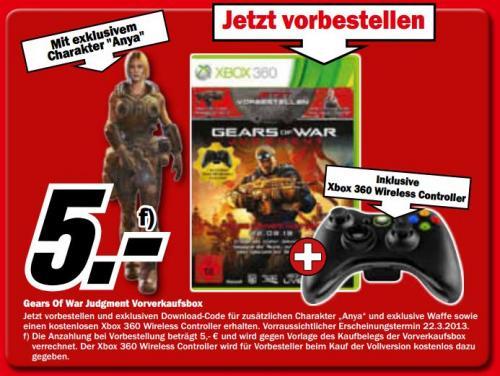 """Xbox 360 Wireless Controller für 5€ beim Kauf von """"Gears of War Judgement"""" MediaMarkt [Lokal - Bremen?]"""