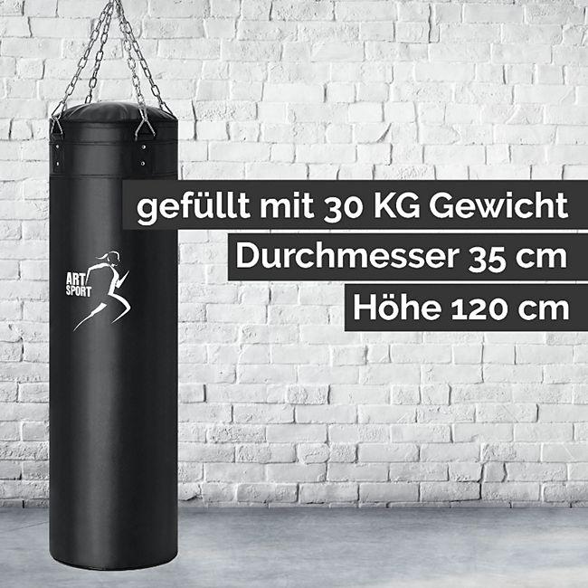 ArtSport Boxsack Set gefüllt mit Stahlkette und Karabinerhaken für Erwachsene   30 kg   schwarz