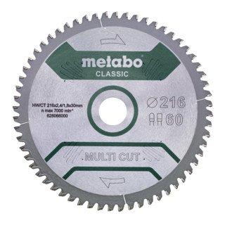 [Contorion] Metabo Kreissägeblatt HW/CT 216 x 30 x 2,4/1,8 Zähnezahl 60 Multi cut classic