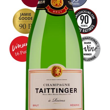 Bestpreis für Champagner Taittinger Brut Réserve 0,75l - Preis gilt für 3 Flaschen