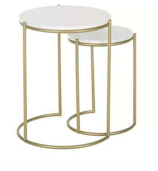 Kleiner Möbel Hidden Sale bei Westwing mit 30€ Rabatt ab 100€, z.B. Marmor-Beistelltisch-Set Ella, 2-tlg.