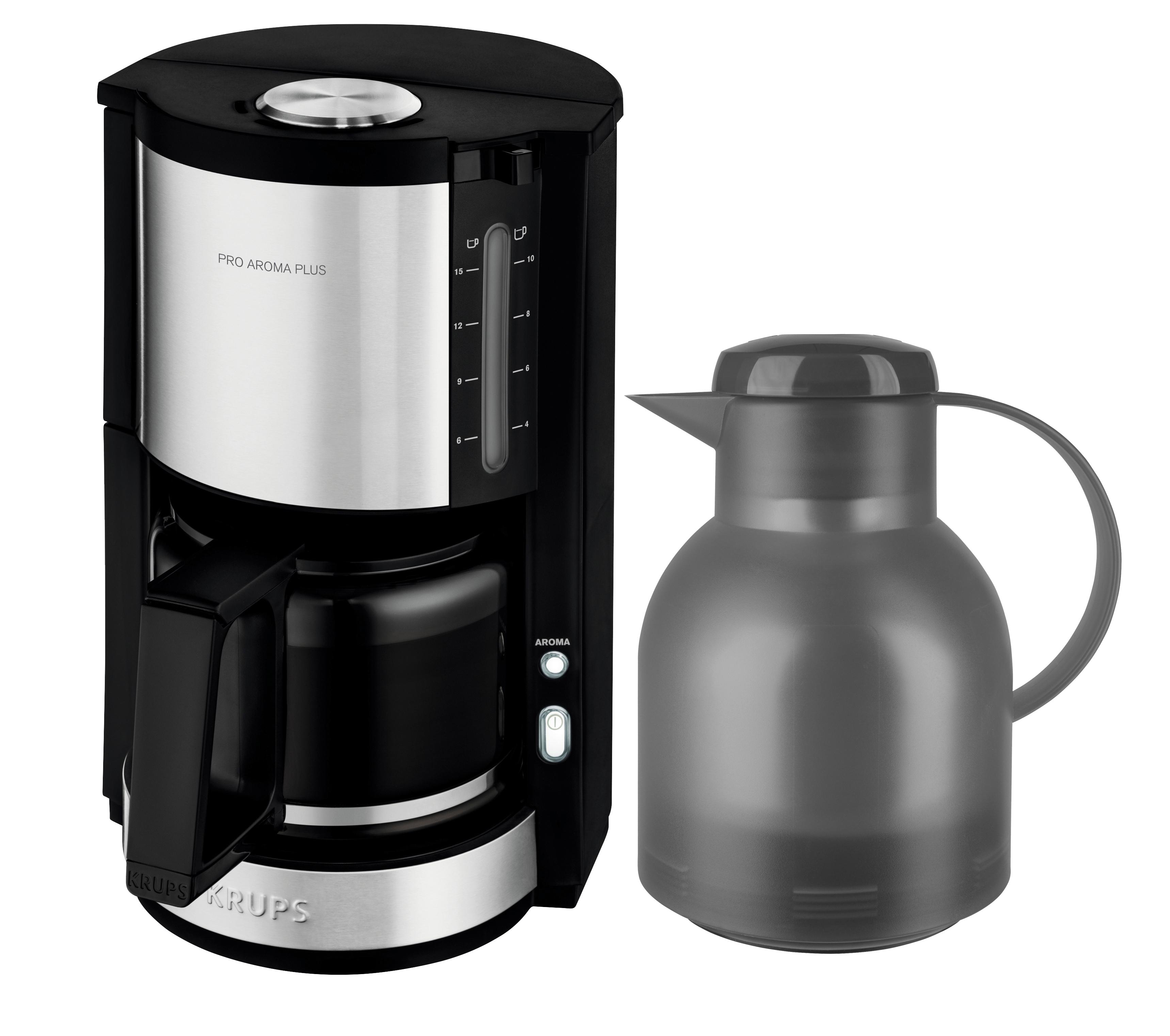 Krups Kaffeemaschine ProAroma Plus KM3210 inkl. Emsa Samba Isolierkanne (grau)