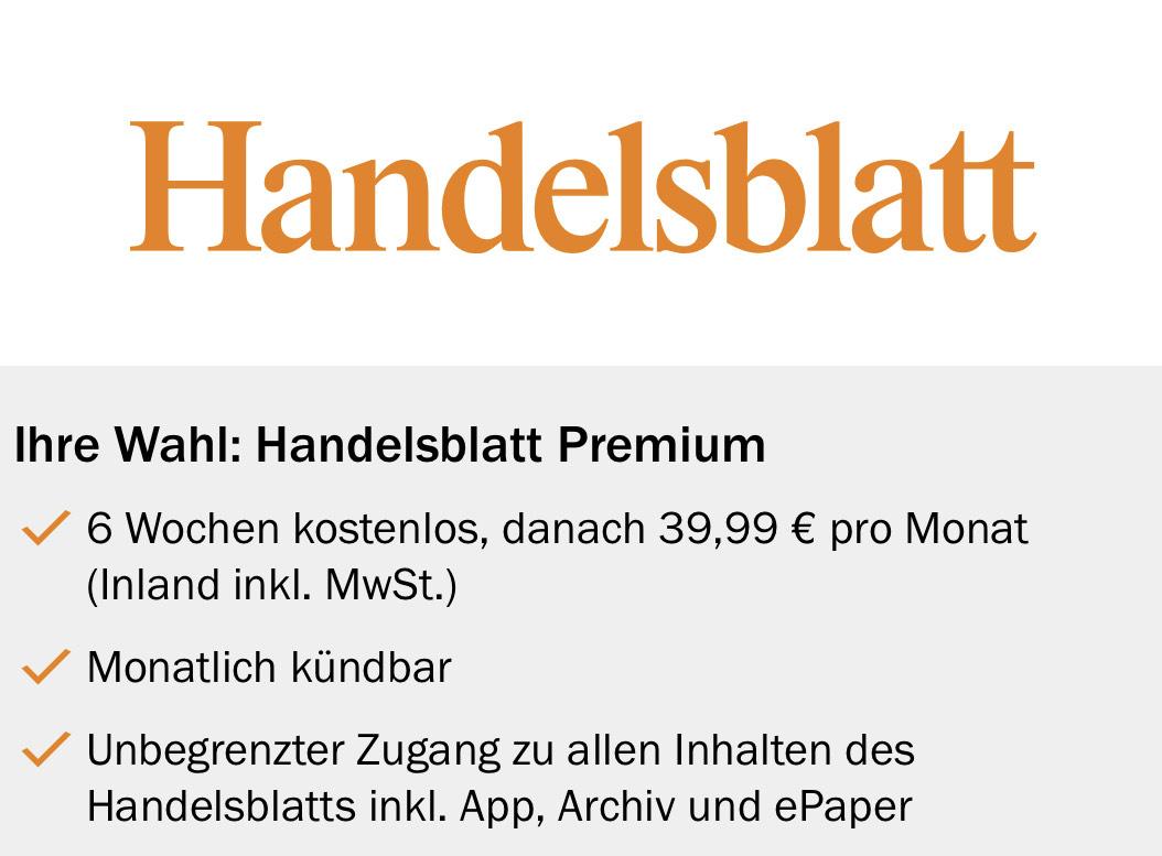 Handelsblatt Premium 6 Wochen kostenlos