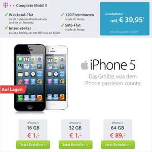 Telekom Complete Mobil S + Apple iPhone 5 64GB über Sparhandy.de für 89,-€