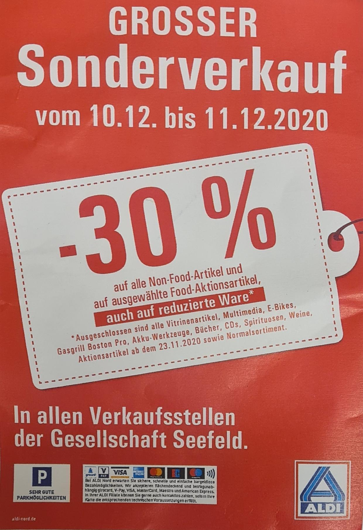 (Lokal) Aldi 30% auf Non Food und ausgewählte Food Artikel - Verkaufsstelle Gesellschaft Seefeld