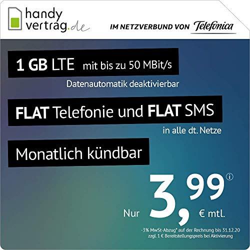[Amazon] [o2-Netz / Telefonica] handyvertrag.de LTE All 1 GB monatlich kündbar mit max. 50 MBit/s & Telefonie Flat für 3,99 € monatlich
