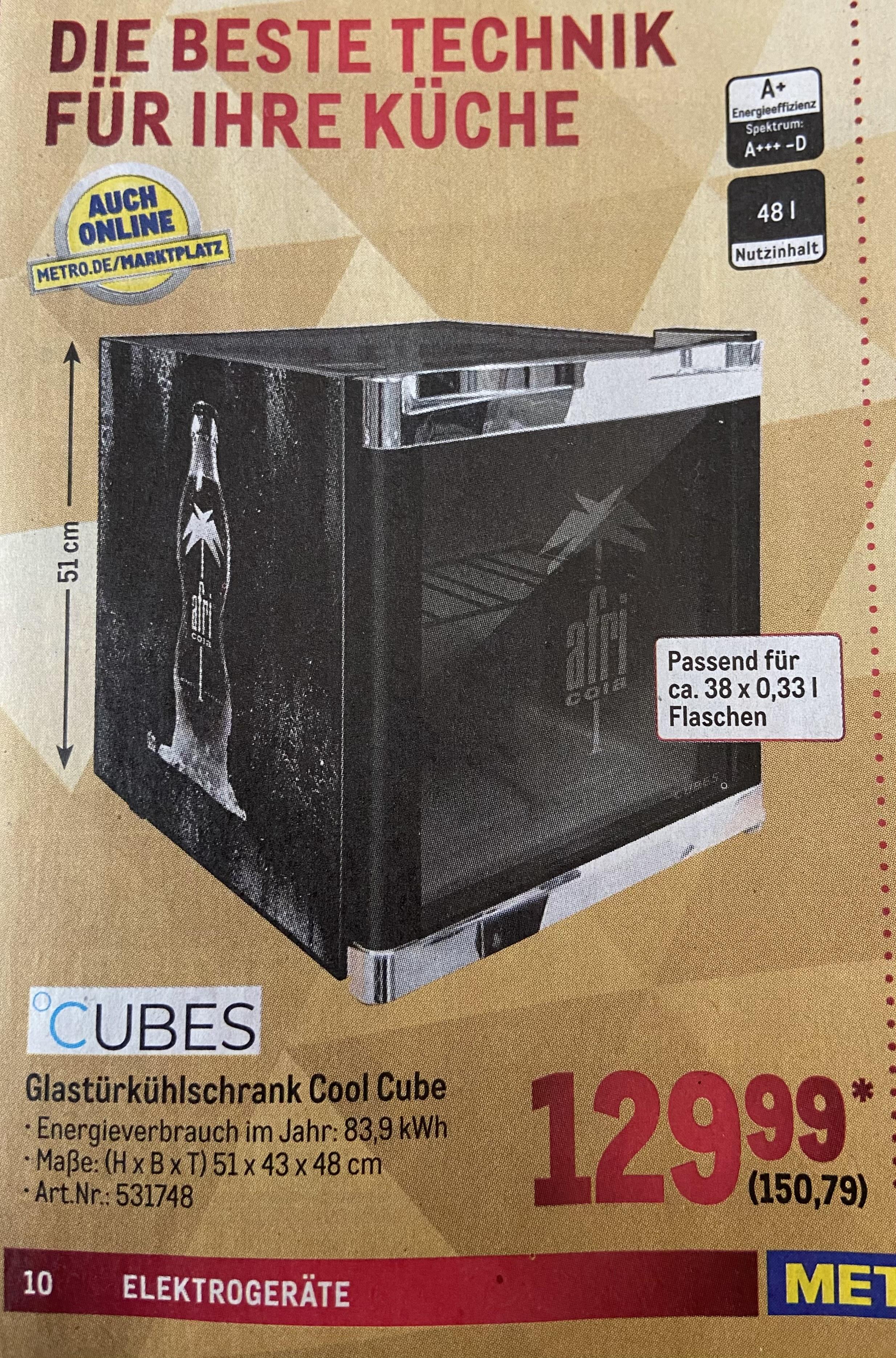 Metro-Deal Husky Cool Cube 48 L Glastürkühlschrank