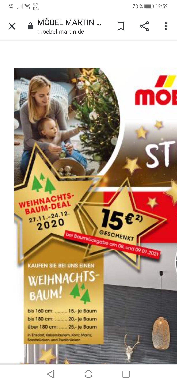 [Möbel Martin (RLP/SL)] Weihnachtsbaum für 15€ Einkaufsgutschein