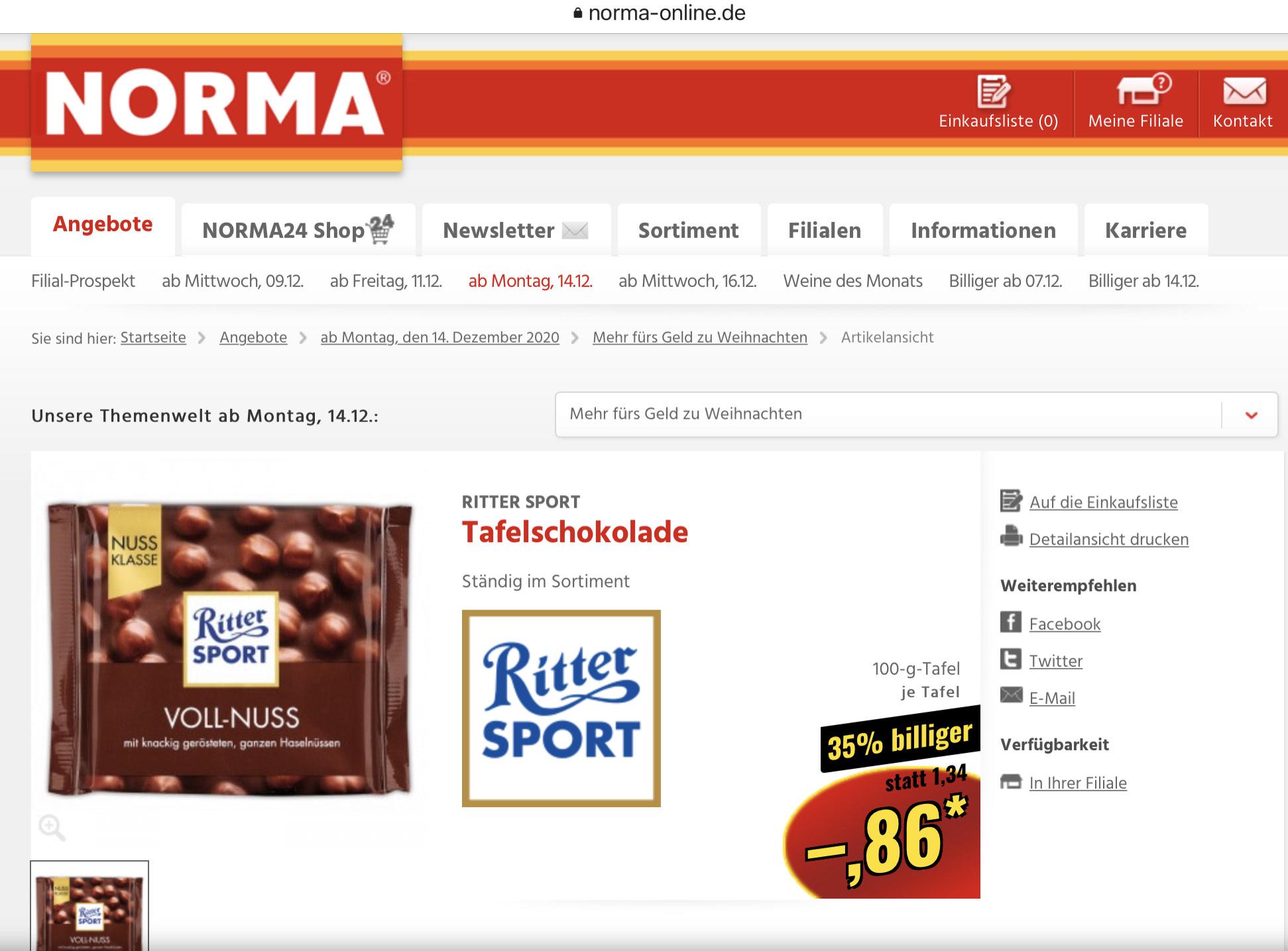 Ritter Sport Nussklasse NORMA 0,86€ ab Montag 14.12.