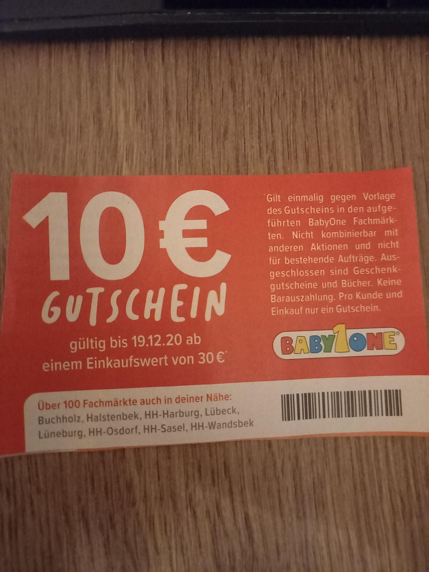 10€ BabyOne Gutschein ab einen Einkaufswert von 30€ (nur in den Märkten)