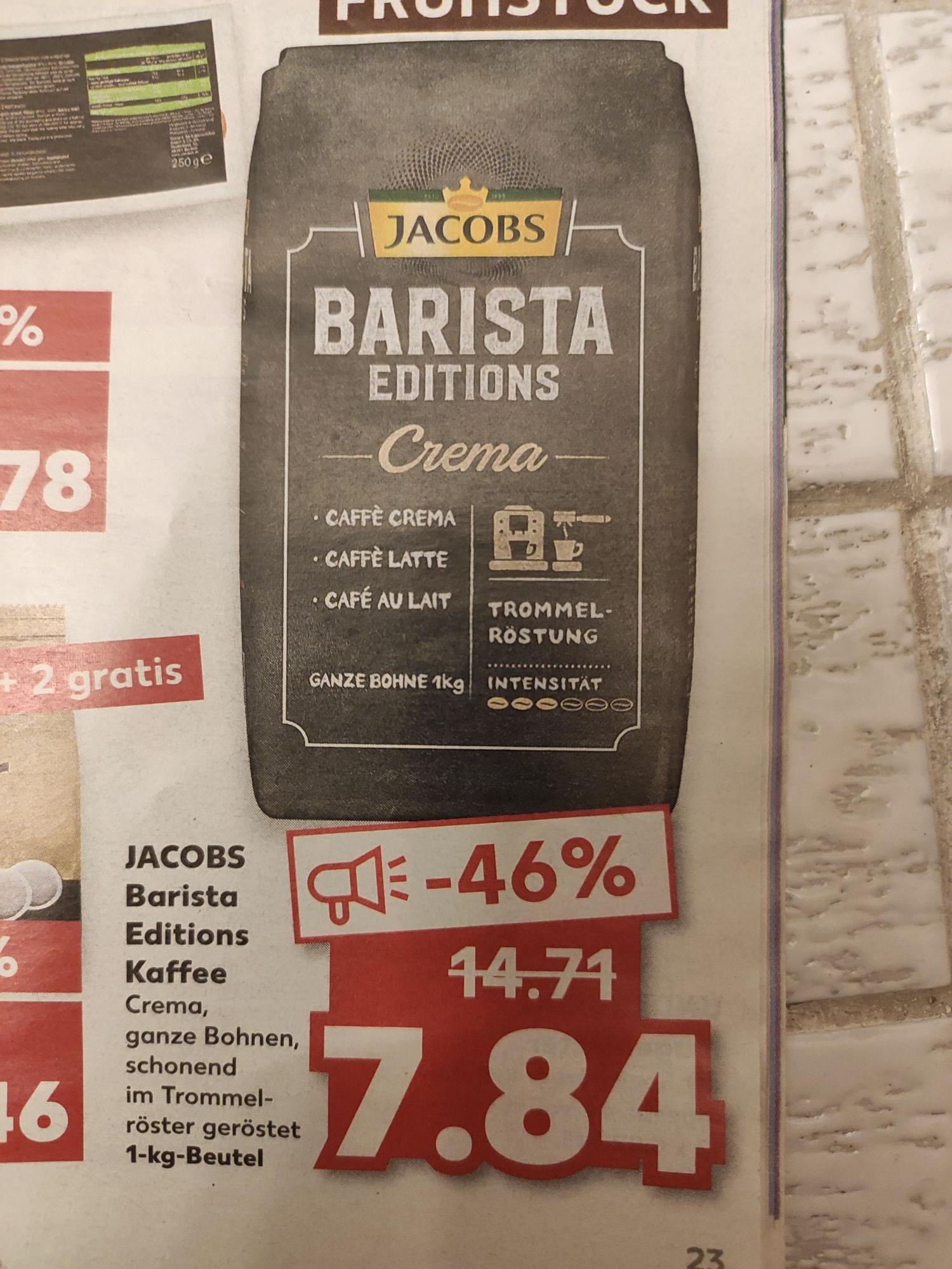 Kaffee ganze Bohne Jacobs Barista editions crema