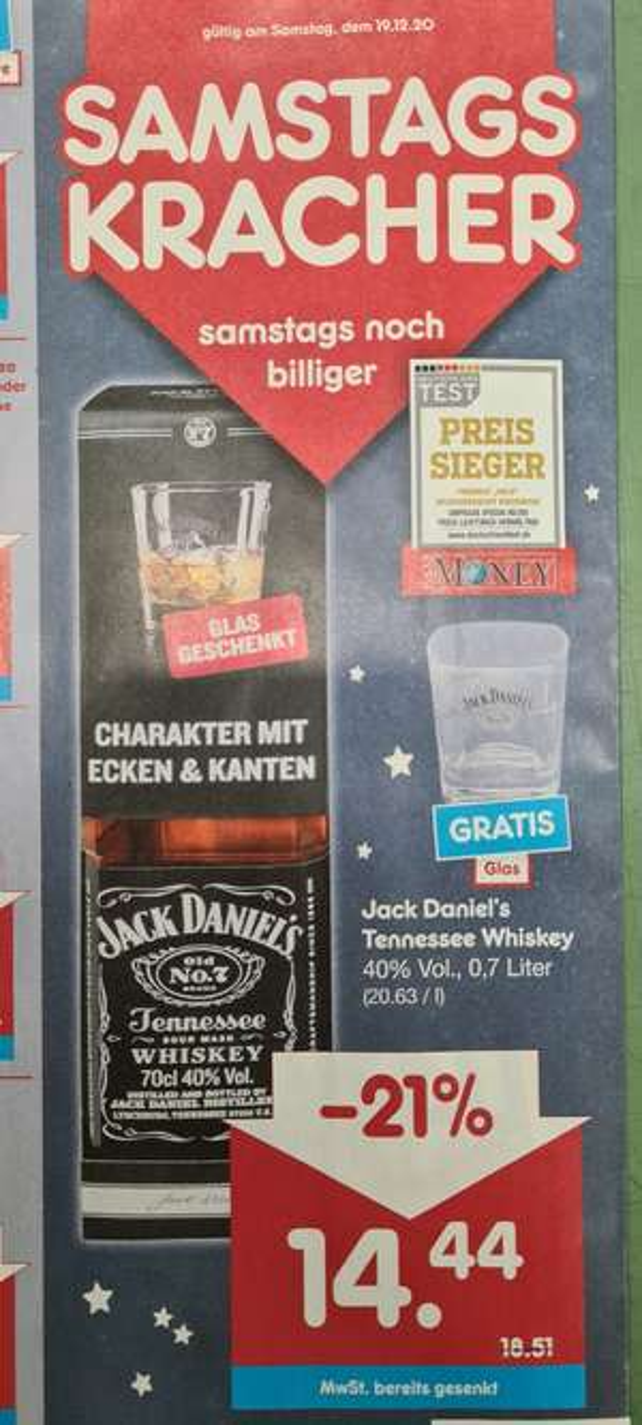 [Netto MD] Samstagskracher am 19.12. - Jack Daniel's Whiskey inkl. Glas