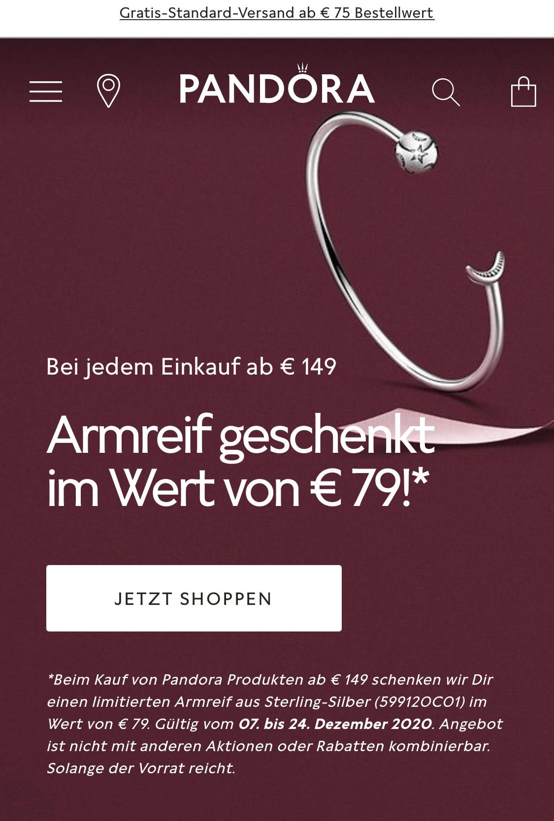Pandora / kostenloser Armreif aus Sterling-Silber im Wert von 79€ ab Einkauf von 149€