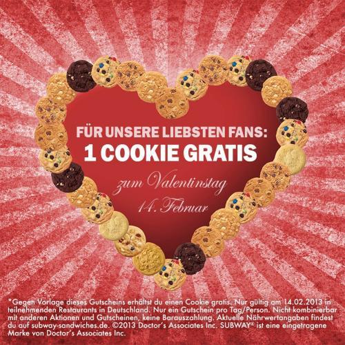 Gratis Cookie zum Valentinstag bei Subway
