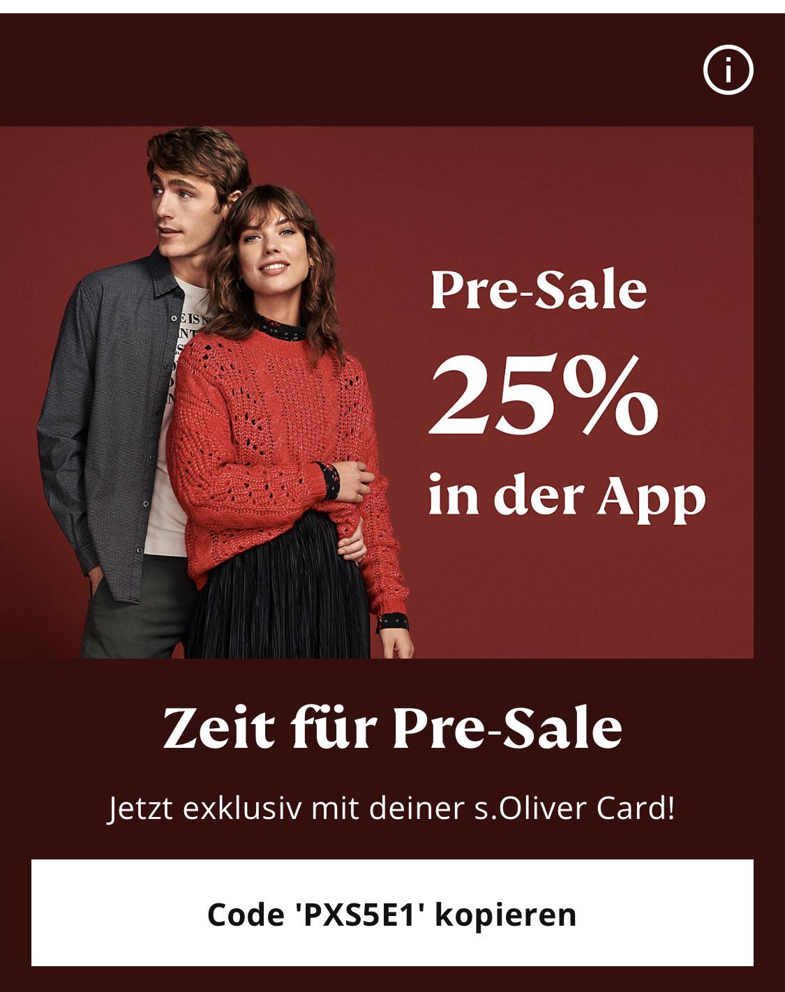 25% Rabatt in s.Oliver App für s.Oliver Card Inhaber / Neu- und Bestandskunden