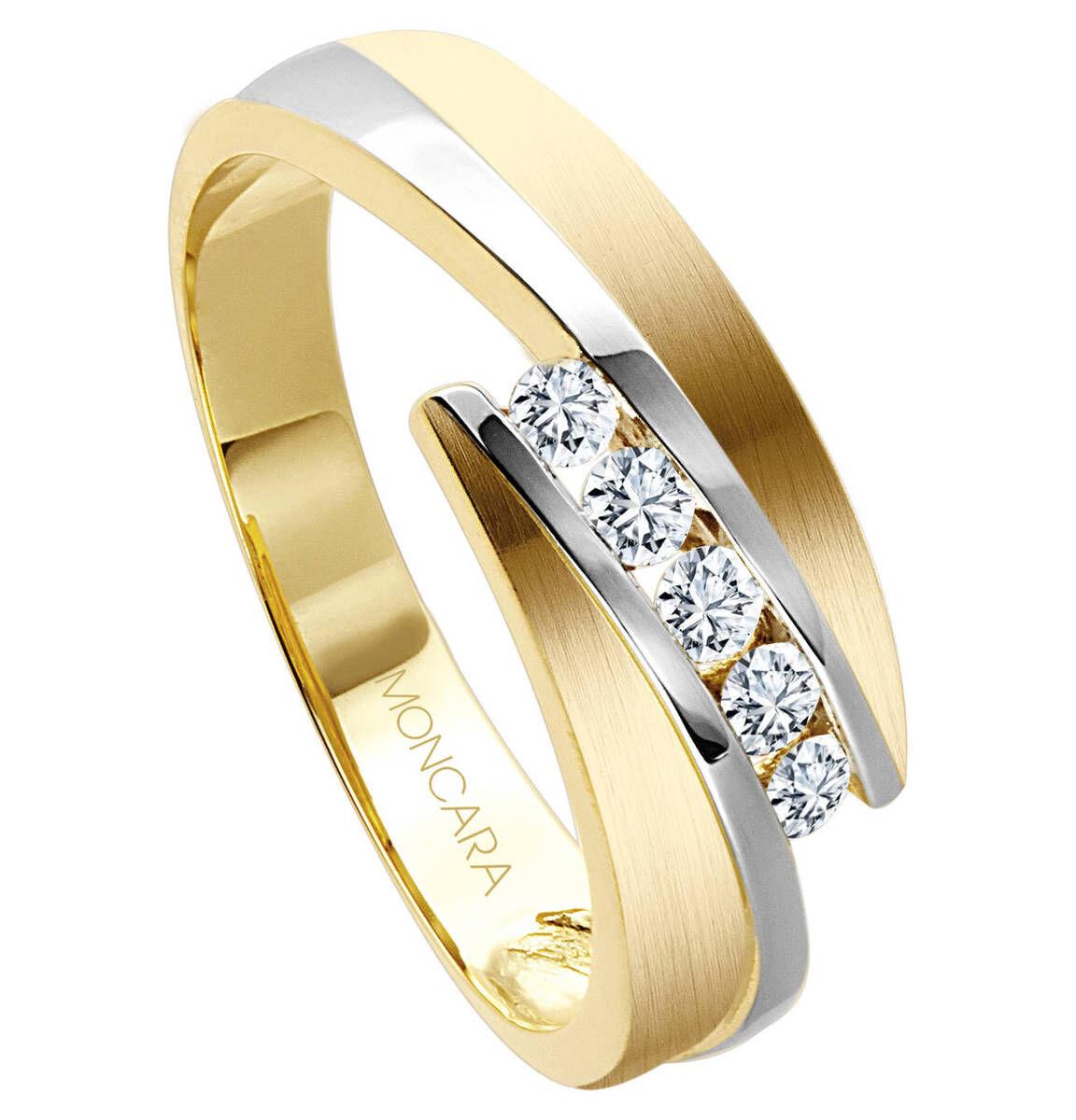 Moncara Damen Ring, 585er Gelbgold mit 5 Diamanten, bicolor