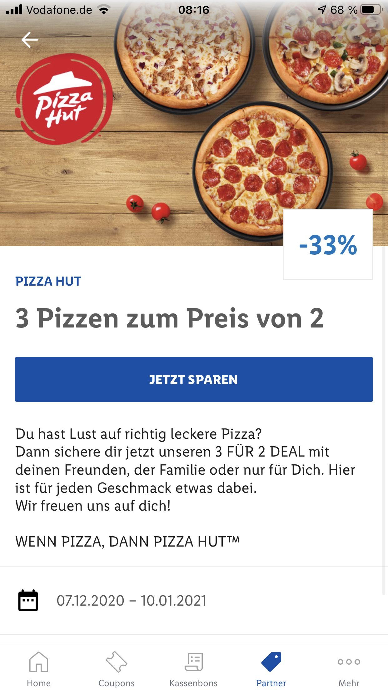 3 Pizzen im Preis von 2 Pizza Hut Aktion