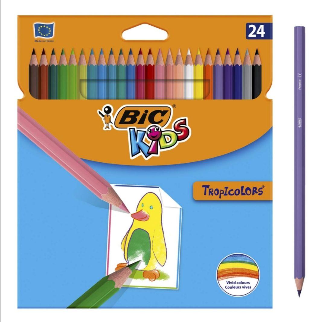 [Amazon Prime] BIC Kids Tropicolors, 24er Set Kinder-Farbstifte, Buntstifte ab 5 Jahre, Bruchsichere Mine & ohne Holz