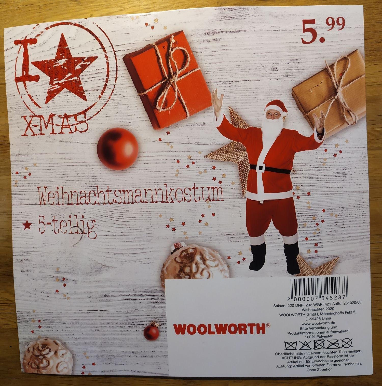 [Woolworth] 5-tlg. Weihnachtsmannkostüm