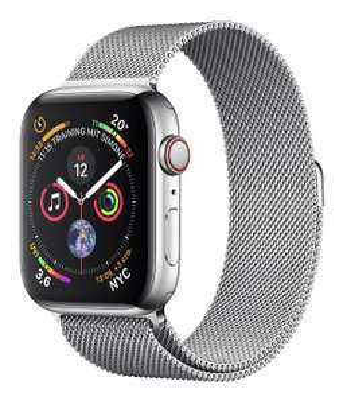 Apple Watch Series 4 GPS + Cellular 44mm silber Edelstahl Milanaise Armband