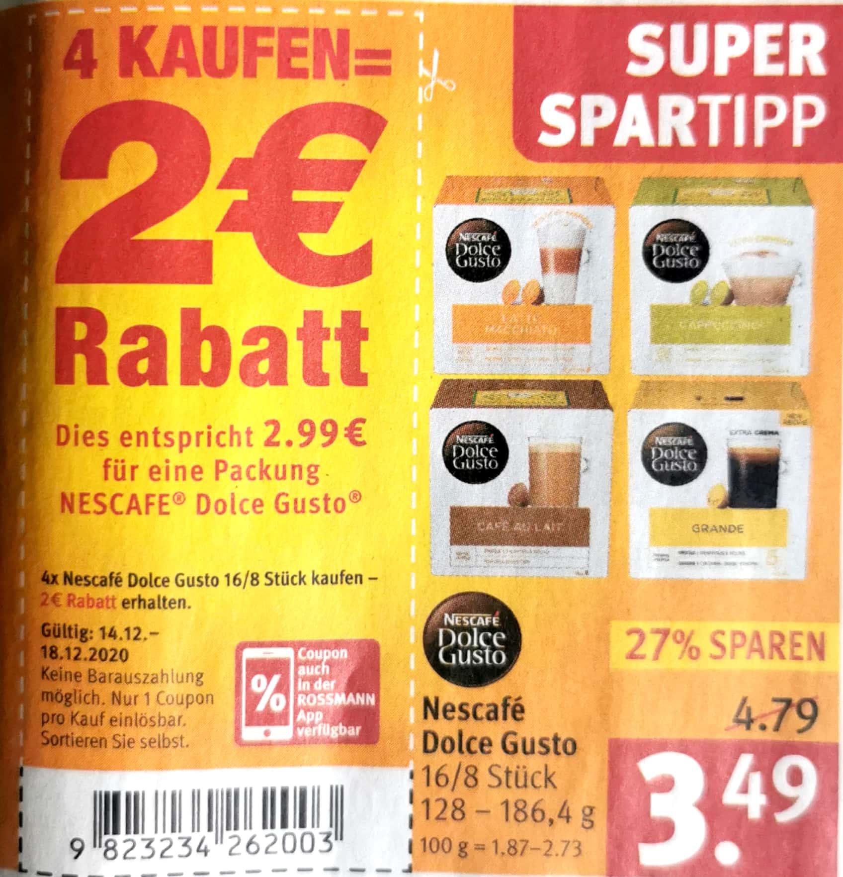 4x Dolce Gusto-Kapsel für 2,69€ pro Packung bei Rossmann