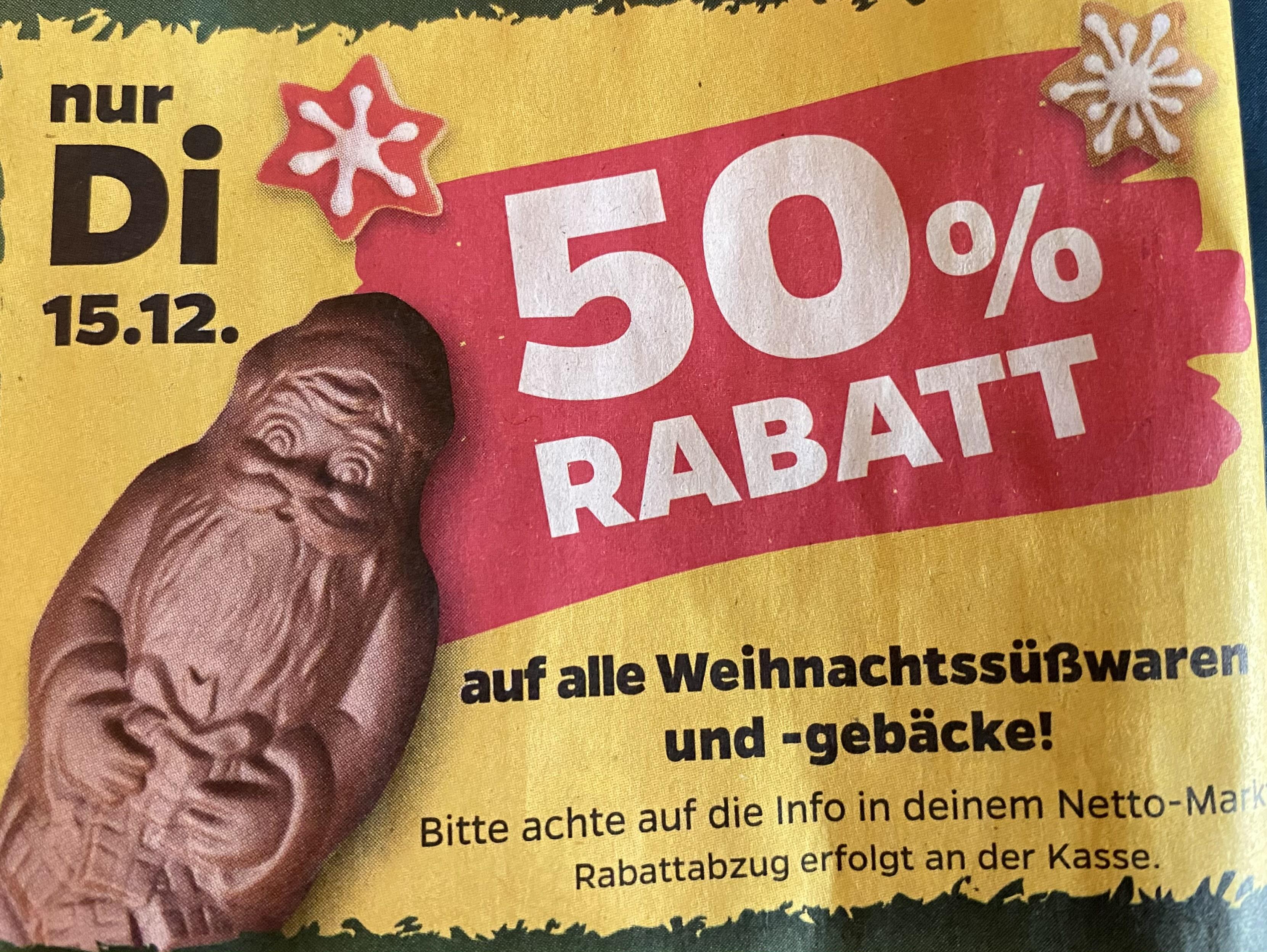 Netto (Scottie): 50% auf alle Weihnachtssüßwaren und -gebäcke
