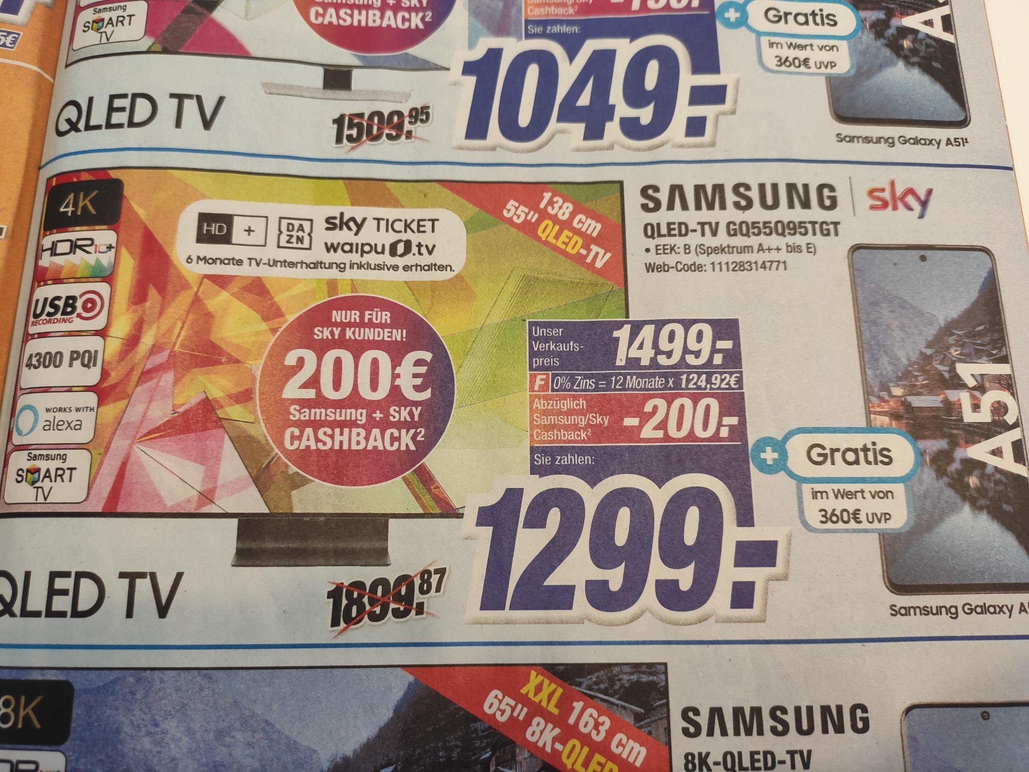 (Expert Klein) Samsung QLED-TV GQ55Q95TGT zzgl. Samsung A51 (Superdeal) und ggf. Sky Cashback