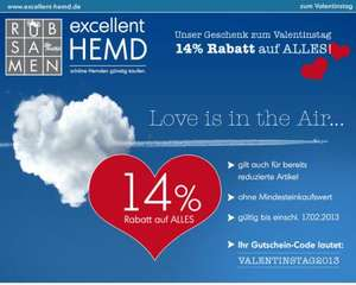 14% Rabatt auf ALLES [excellent-hemd.de]